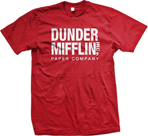 (Dunder Mifflin Paper Inc T-shirt, The Office T-shirts, TV show T-shirts, Red, Medium)