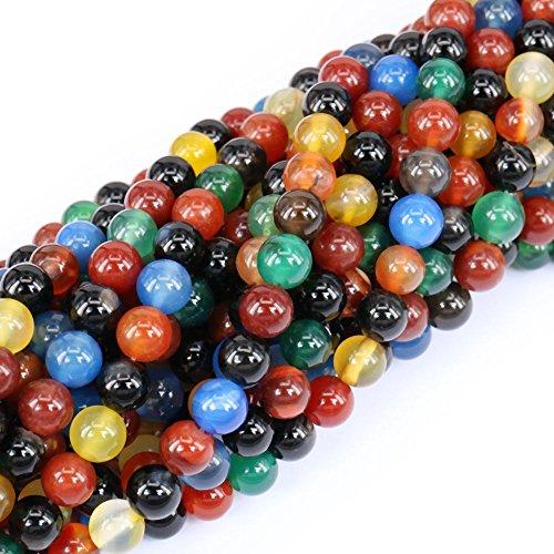 jennysun2010NaturalMulti-Colored Agate Gemstone 3mm SmoothRoundLooseBeads Length15.5'' (38.5cm)1StrandperBagforBraceletNecklaceEarringsJewelryMakingHealing Agate Round Earrings