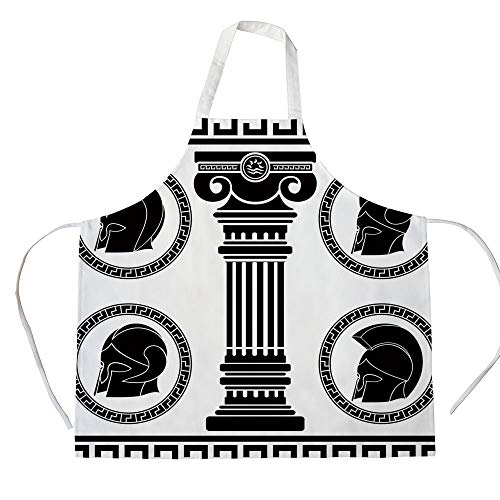 (Toga Party 3D Printed Cotton Linen Apron,Patterned Circular Frames with Antique Helmets Spartan Military Costume,for Cooking Baking Gardening,Black and White)