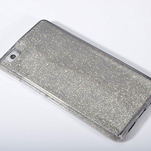 Funda Doble para Huawei P9 Lite, Vandot Bling Brillo Carcasa Protectora 360 Grados Full Body | TPU en Transparente Ultra Slim Case Cover | Protección Completa Delantera y Trasera Cocha Smartphone Móvi Bling Black