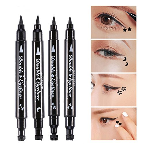 Double-Ended Eyeliner Heart/Flower/Moon/Satr Shape Stamp Pen, 4 Styles/Set Waterproof Long Lasting Eye Decoration Cosmetic Black Eyeliner Pencil