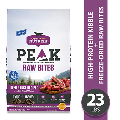 Rachael Ray Nutrish PEAK Open Range Recipe with Beef, Lamb and Freeze-Dried Raw Bites Dry Dog Food, 23 Pounds