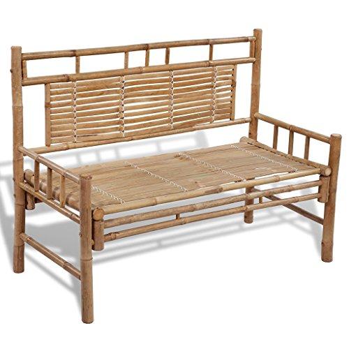vidaXL Sitzbank aus Bambus mit Rückenlehne