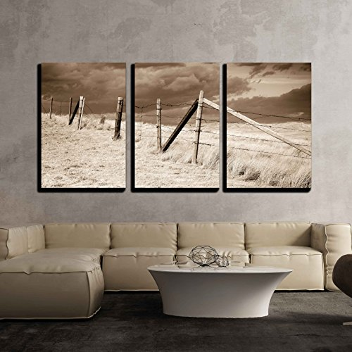 Dramatic Sky on Rural Grasslands Colorado United States Sepia Version x3 Panels