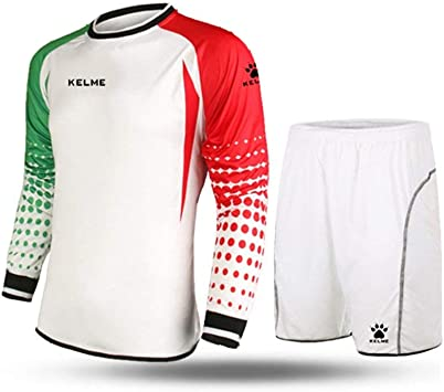 Conjunto para portero de fútbol, de la marca Kelme, de manga larga, color White/Red/Green, tamaño Large: Amazon.es: Deportes y aire libre