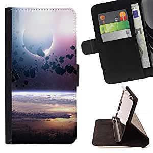 For Motorola Moto E (1st Gen, 2014) Asteroid Belt Planet Space Cosmos Universe Style PU Leather Case Wallet Flip Stand Flap Closure Cover