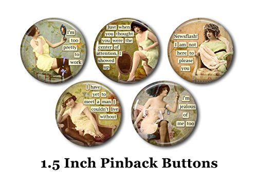 Sarcastic Humor - Humorous Pins - 5 Pinback Buttons - 1.5