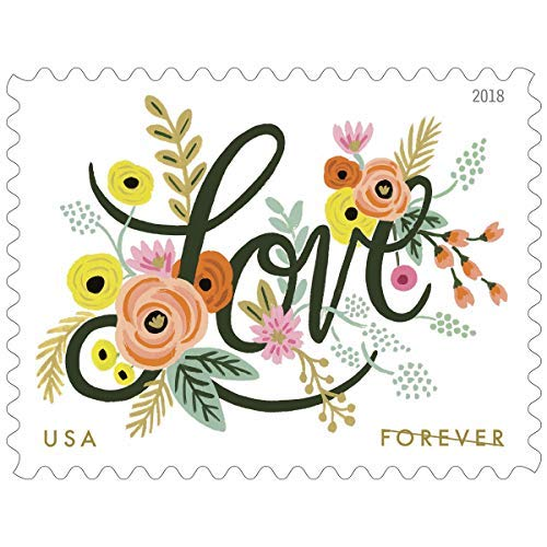 Love Flourishes 4 Sheets of 20 USPS First Class Forever Postage Stamps Wedding Love Valentine 80 Stamps ()
