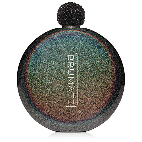 Brümate Holographic Glitter Spirit Flask - 5oz Stainless Steel Pocket & Purse Liquor Flask with Rhinestone Cap - Cute, Girly & Discreet for Drinking - Perfect Gift for Women (Glitter Charcoal)