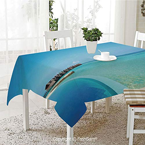- AmaUncle Premium Waterproof Table Cover Pool in The Maldives Bungalows Horizon Ocean Tropics Sky Honeymoon Kitchen Rectangular Table Cover (W60 xL104)