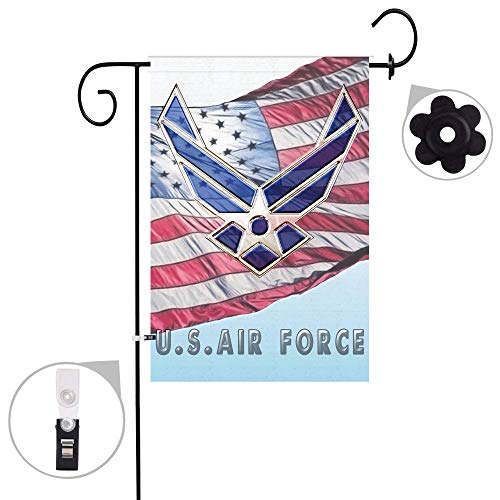 (Bonsai Tree Military Burlap Garden Flag Sets,Weather Resistant and Double Stitched,Double Sided US Air Force Flags with a Rubber Stopper Stop and a Anti-Wind Clip,12