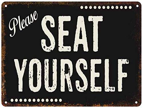 Please Seat Yourself SIgn Restaurant Decor Rustic Wall Signs Décoration Vintage Lobby Diner Hostess Art Seating Gift 9x12 Metal 109120001016