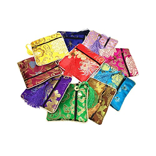 (HOTER Silk Brocade Coin Pouch, Set of 10, Random Color)