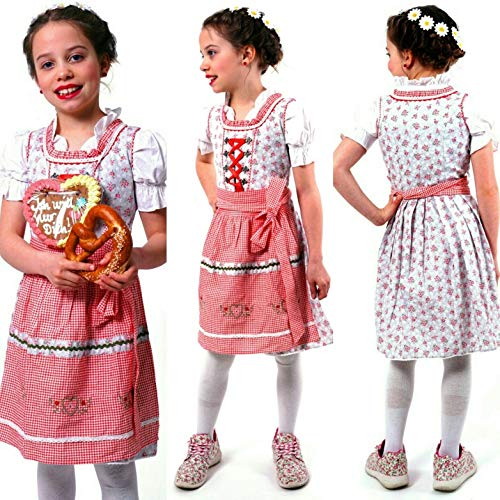 - Adorable and Authentic German 3 PCS. Dirndl Summer Spring Dress Outfit for Girls in Red and Grey Size 11 (11, Red and Grey)
