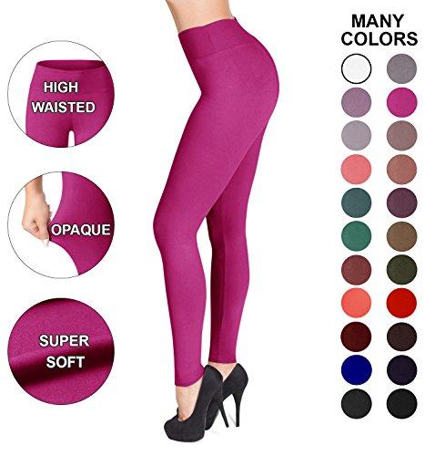 Sejora Satina High Waisted Leggings – 22 Colors – Super Soft Full Length Opaque Slim (One Size, (Solid Pink Leggings)