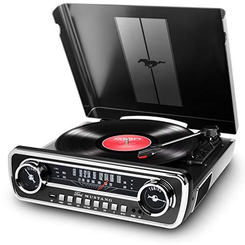 ION Audio Mustang LP – 4-in-1 Oldtimer Auto-stijl Music Center met Draaitafel, Radio, USB en Aux-ingangen, Plus…