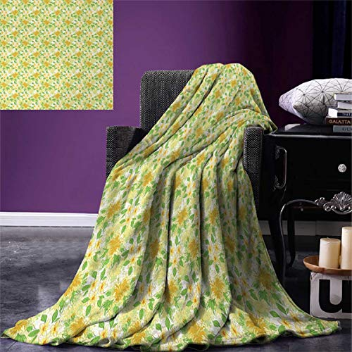 Anniutwo Yellow White Travel Throw Blanket Exotic Hibiscus Plumeria Flower Composition Hawaii Plants Velvet Plush Throw Blanket 60''x50'' Amber Yellow Fern Green by Anniutwo