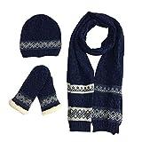 tueselesoleil Winter Men 3 Pieces of Wool Hat Scarf And Mittens Set (Denim blue)
