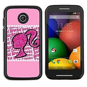 Silueta de la mujer de Bling del brillo- Metal de aluminio y de plástico duro Caja del teléfono - Negro - Motorola Moto E / XT1021 / XT1022