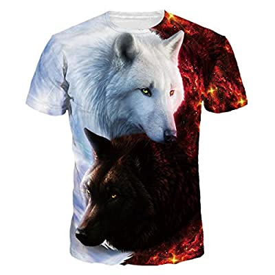 Mclochy Unisex 3D Wolf T Shirts Couples Summer Short Sleeve T-Shirts Casual Tees