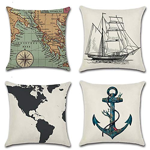 (Set of 4 Ocean Series Background Map Compass Geography Decorative Throw Pillow Case Cushion Cover 18