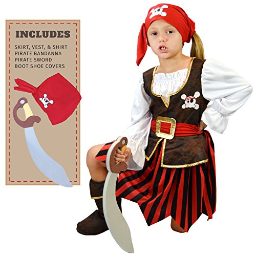 Spooktacular Creations Deluxe Pirate Girl Costume Set (Girls Pirate Dress Up)