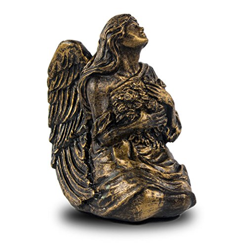 OneWorld Memorials Serenity Angel Polyresin Keepsake Urns - Extra Small - Holds Up to 10 Cubic Inches of Ashes - Bronze Cremation Urn for Ashes - Engraving Sold Separately