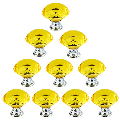 (Dxhycc 10pcs 30mm Flat Round Crystal Glass Cabinet Knobs Cupboard Drawer Pull Handles Yellow)