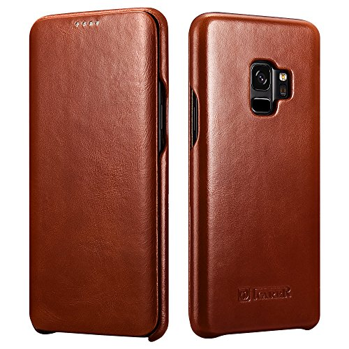 Galaxy S9 Leather Case, Icarer Genuine Vintage Leather Flip Folio Opening Cover in Curved Edge Design, Slim Thin Side Open Case for Samsung Galaxy S9 5.8 Inch (Brown)