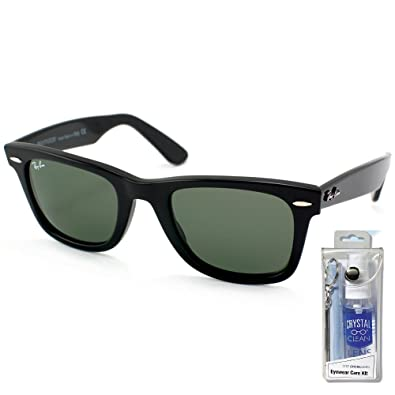 6075bbbac7f Amazon.com  Ray Ban RB2140 901 54mm Black Wayfarer Sunglasses Bundle - 2  Items  Shoes