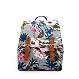 Small Canvas Backpack For Women Mini Backpack Floral Backpack White by Ms.Camellia