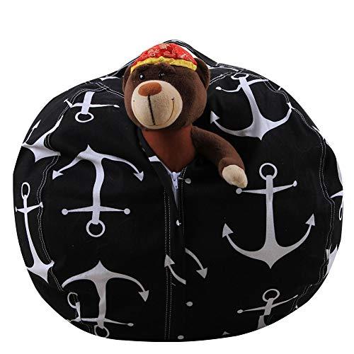 HONBEAL (Anchor 38 inch Stuffed Animal Storage XL Bean Bag Stuffed Animal Storage 26 Inches or 38 Inches Diameter Stuffed Animal Bean Bag Chair