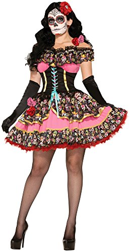 Forum Novelties Women's Day Of Dead Senorita Costume, Multi, -