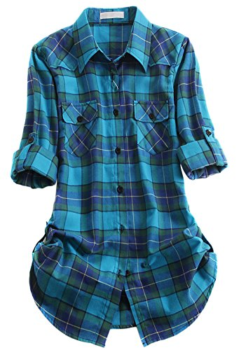 [Chouyatou Women's Winter Fleece Lined Plaid Flannel Buttoned Shirt (X-Large, TH109)] (Sherpa Lined Flannel Shirt)