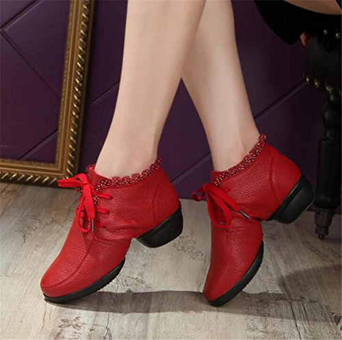 36To40 Size Women Sneaker Split Modern Jazz Soft Leather Sole Dance Shoes red UFU6v