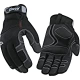 KINCO 2051-L Men's Lined Cold Weather Gloves, MiraX2 Synthetic Leather Palm, Heat Keep Thermal Lining, AquaNOT Waterproof, Large, Black