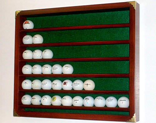 60 Ball Golf Display Case with Brass Corner Embellishments - Solid Wood - CCWP (Natural Red Oak) ()