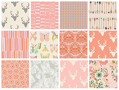 Girl's Woodland Nursery Quilt Fabrics | Hello Bear Fabric Bundle | Deer Head Fabric | Pink and Gray Quilt Bundle with Butterflies | Art Gallery Fabrics (Half Yards)