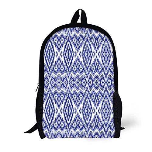 Pinbeam Backpack Travel Daypack Abstract Dark Blue Stripes on Exotic Batik Fantasy Waterproof School Bag