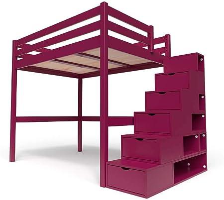ABC MEUBLES - Cama Alta Sylvia con Escalera Cubo - Cube - Ciruela, 140x200: Amazon.es: Hogar