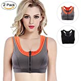 LOVE YANQI Front Zipper Closure Sports Bra Racerback High Impact Women Bras Wide Strap U Neck Yoga Exercise 2 Pack