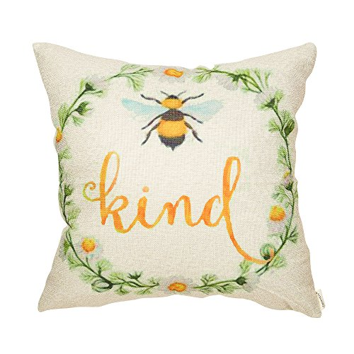 Fahrendom Girl Nursery Bee Kind Daisy Wreath Inspirational Quote Cotton Linen Home Decorative Throw Pillow Case Cushion Cover with Words for Sofa Couch 18 x 18 in