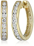 14k Yellow Gold Channel-Set Diamond Hoop Earrings (3/4 cttw, H-I Color, I1-I2 Clarity)