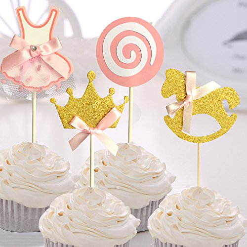 Cupcake Crown Favor Dress Glitter and Birthday Party Girls Shower Cake Pink Decoration Toppers Lollipop Toppers Gold Kit 27 Baby Girl pac Trojan Picks Rq07vnWP