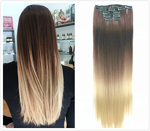 22 Inches Full Head Ombre Dip Dyed Straight Clip-in Hair Extensions 6pcs Pack (Col. Dark brown to sandy blonde) DL