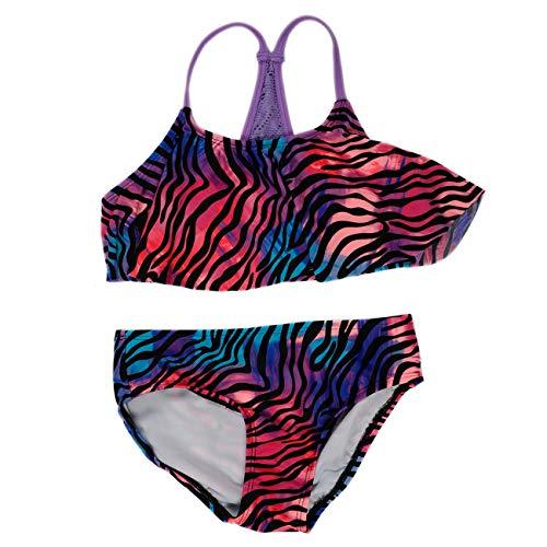 (DAYU Girls Stripe Pattern Bikini Set UPF 50+ Ruffle Swimwear Tankini, 7-8)