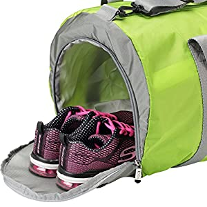 Gym Bag for Women with Shoe Pocket Wet Compartment– Womens Workout Sports Training Duffel Bag (Green)