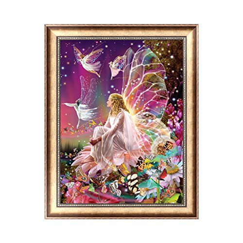 Hacloser Girl Fairy Wings 5D Diamond Painting Embroidery DIY Craft Paint Kit Cross Stitch Home Decoration, 38 x 30cm/14.96