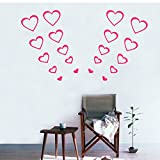 HuaYang 3D Removable Heart Shape Wall Stickers Bedroom Paster Decal DIY Mural(Hot Pink)