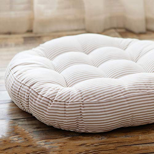 Redsun Cotton Linen Round Chair Cushion,Floor Pillow Cushion Round Stuffed Cushion,Thick Stripe Tatami Futon Seat Cushion Throw Pillows -Beige Diameter:47cm(19inch) ()